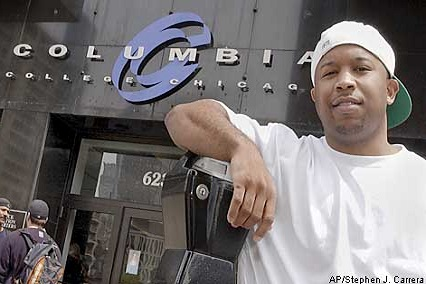 SPECIAL TO SAN FRANCISICO CHRONICLE--Jeffery Toney stands in front of Columbia College in Chicago, Thursday, May 8, 2003. (AP Photo/Stephen J. Carrera)